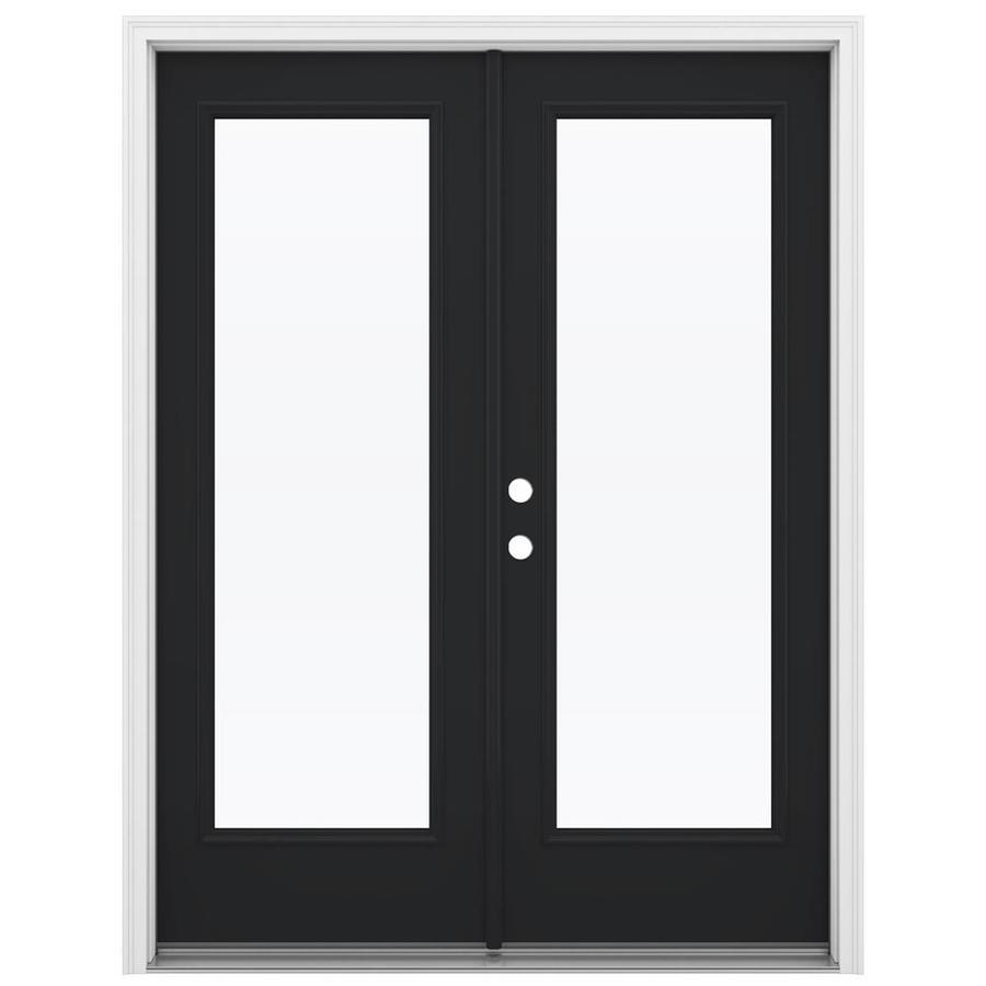 ReliaBilt 59.5-in 1-Lite Glass Peppercorn Steel French Inswing Patio Door