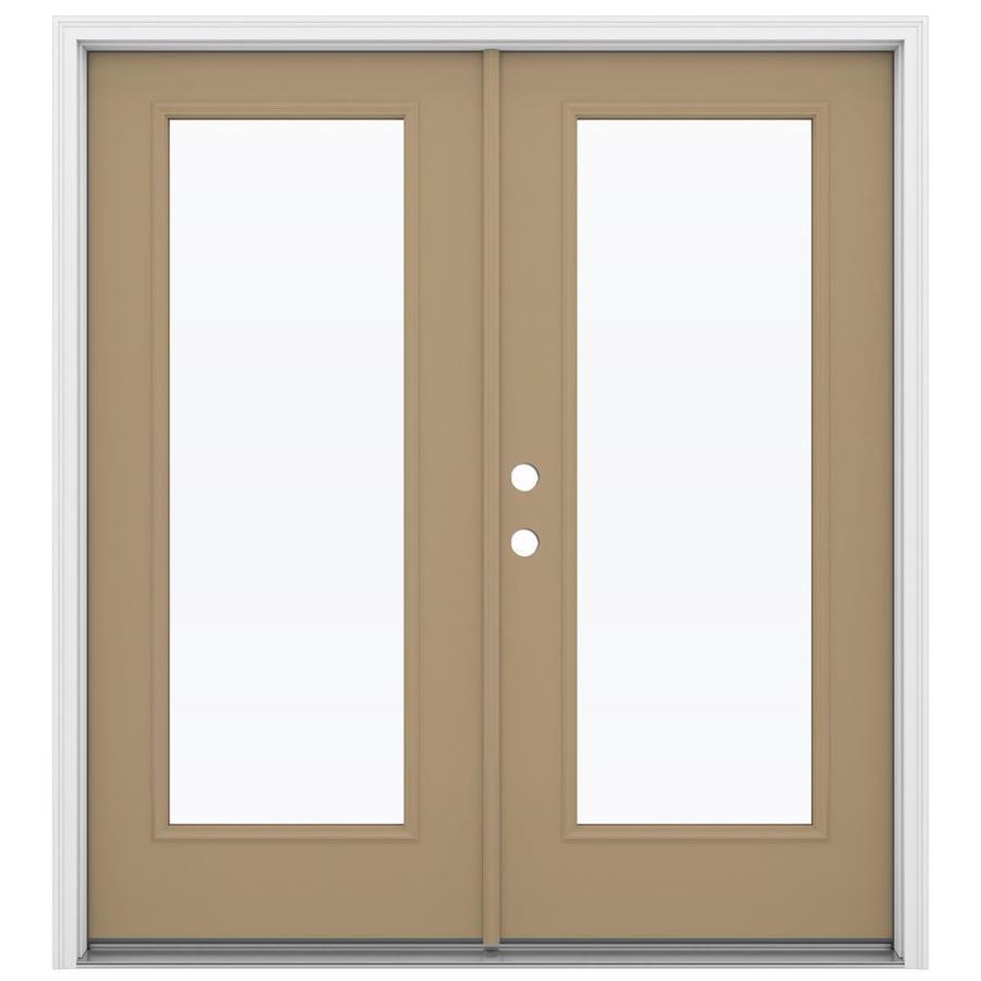 ReliaBilt 71.5-in 1-Lite Glass Warm Wheat Steel French Inswing Patio Door