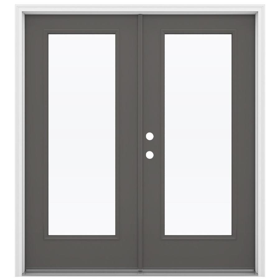 ReliaBilt 71.5-in 1-Lite Glass Timber Gray Steel French Inswing Patio Door