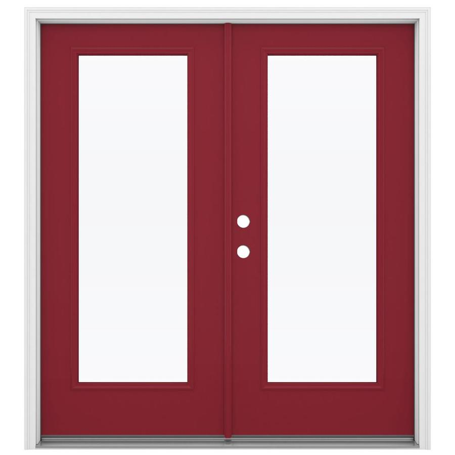 ReliaBilt 71.5-in 1-Lite Glass Roma Red Steel French Inswing Patio Door