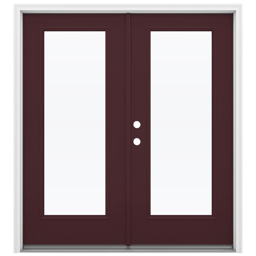 ReliaBilt 71.5-in 1-Lite Glass Currant Steel French Inswing Patio Door
