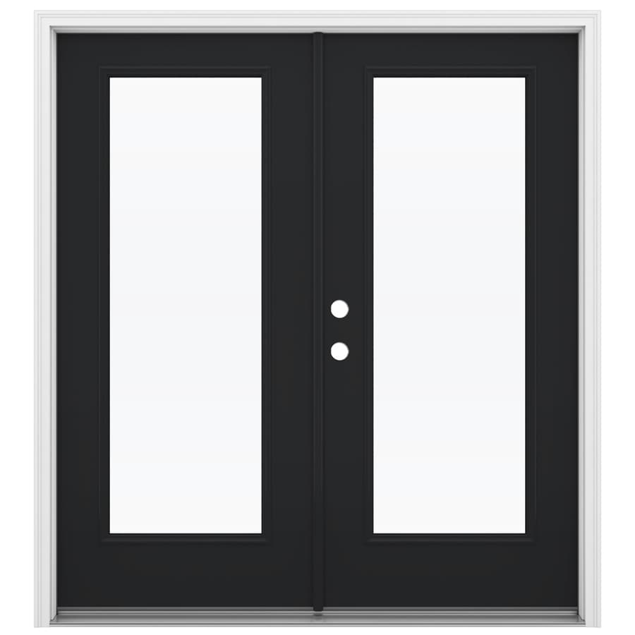ReliaBilt 71.5-in 1-Lite Glass Peppercorn Steel French Inswing Patio Door