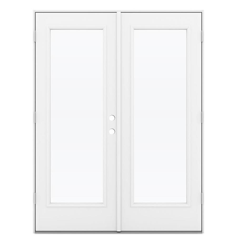ReliaBilt 59.5-in 1-Lite Glass Primed Steel French Outswing Patio Door