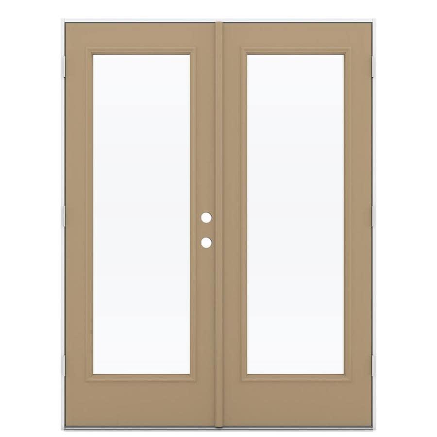 ReliaBilt 59.5-in 1-Lite Glass Warm Wheat Steel French Outswing Patio Door
