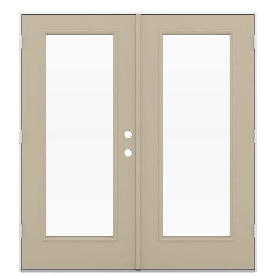 ReliaBilt 71.5-in 1-Lite Glass Sandy Shore Steel French Outswing Patio Door