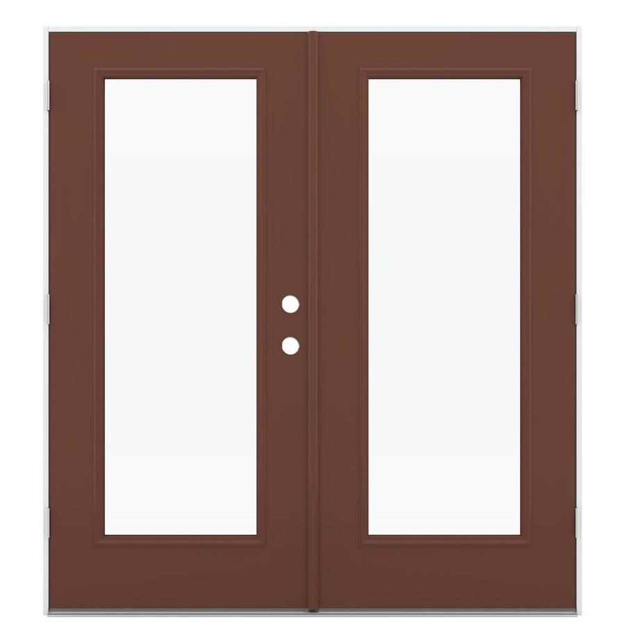 ReliaBilt 71.5-in 1-Lite Glass Foxtail Steel French Outswing Patio Door