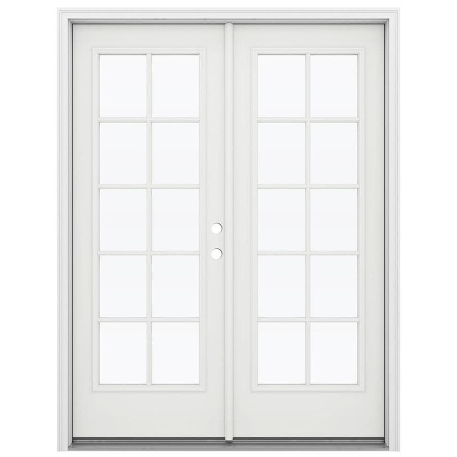ReliaBilt 59.5-in 10-Lite Glass Arctic White Steel French Inswing Patio Door
