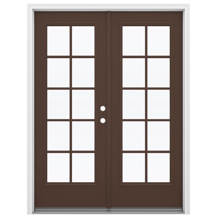 ReliaBilt 59.5-in 10-Lite Glass Chococate Steel French Inswing Patio Door