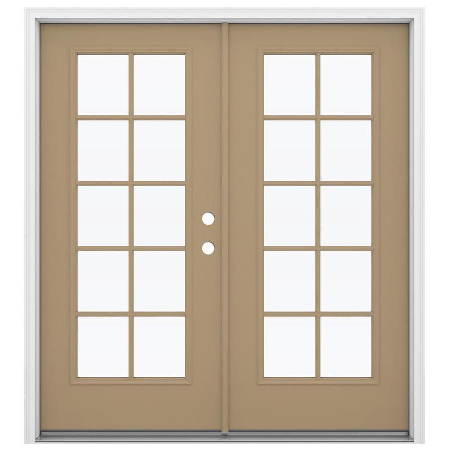 ReliaBilt 71.5-in 10-Lite Glass Warm Wheat Steel French Inswing Patio Door