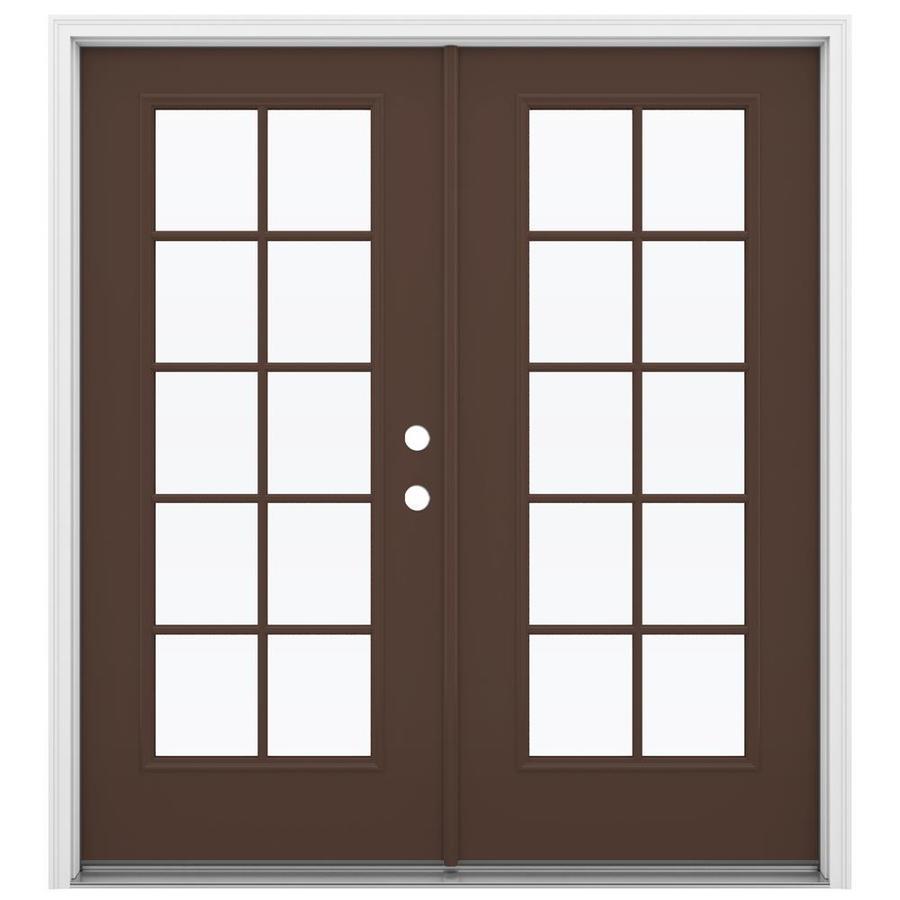 ReliaBilt 71.5-in 10-Lite Glass Chococate Steel French Inswing Patio Door