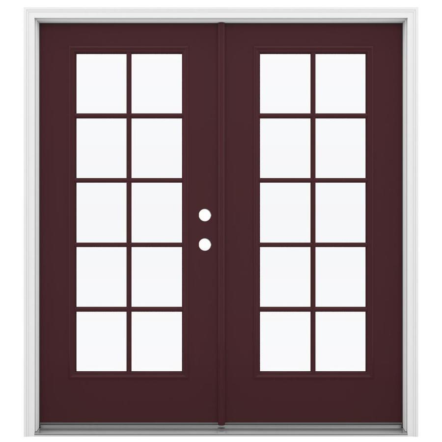 ReliaBilt 71.5-in 10-Lite Glass Currant Steel French Inswing Patio Door