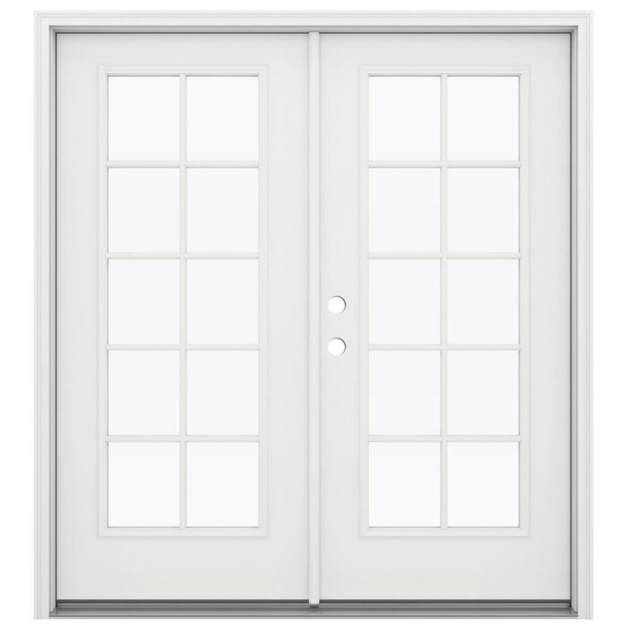 ReliaBilt 71.5-in 10-Lite Glass Arctic White Steel French Inswing Patio Door