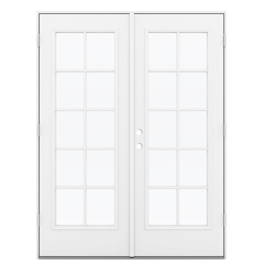 ReliaBilt 59.5-in 10-Lite Glass Primed Steel French Outswing Patio Door