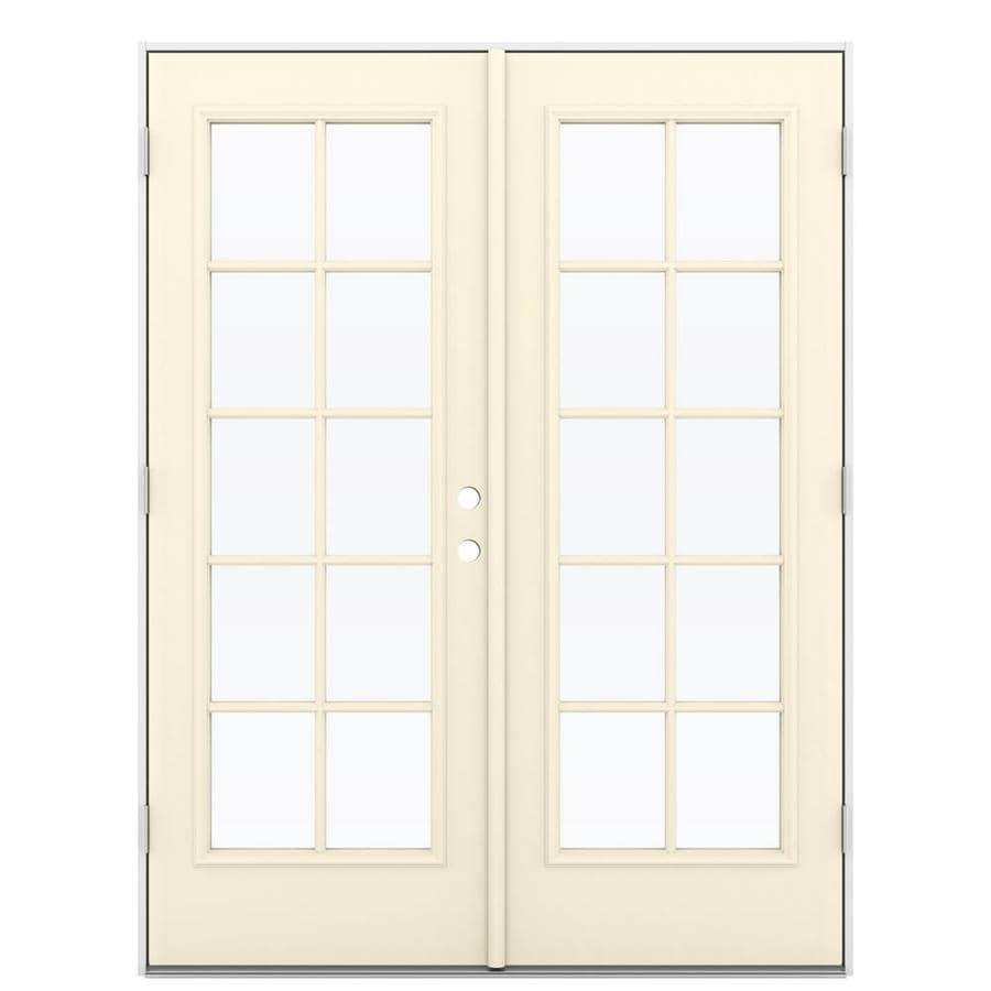 ReliaBilt 59.5-in 10-Lite Glass Bisque Steel French Outswing Patio Door