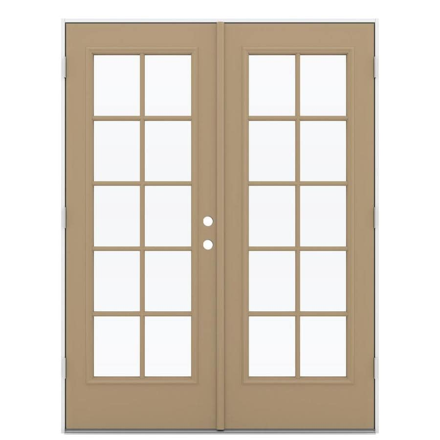 ReliaBilt 59.5-in 10-Lite Glass Warm Wheat Steel French Outswing Patio Door