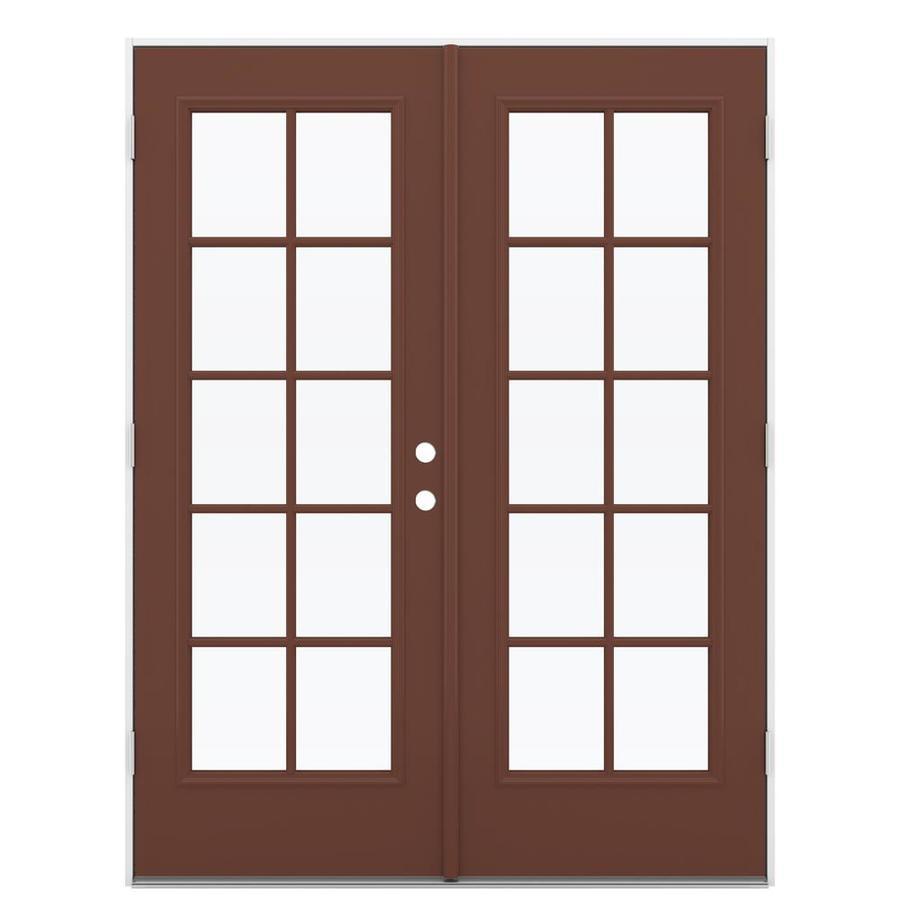 ReliaBilt 59.5-in 10-Lite Glass Foxtail Steel French Outswing Patio Door