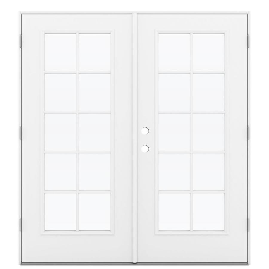 ReliaBilt 71.5-in 10-Lite Glass Primed Steel French Outswing Patio Door