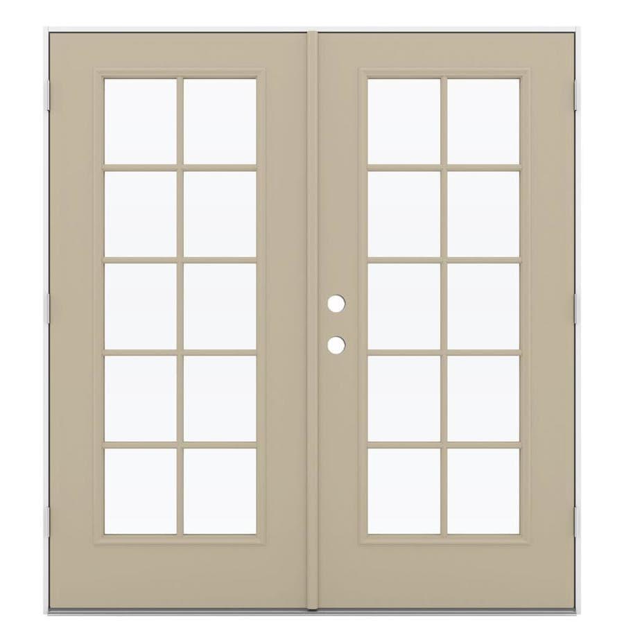 ReliaBilt 71.5-in 10-Lite Glass Sandy Shore Steel French Outswing Patio Door