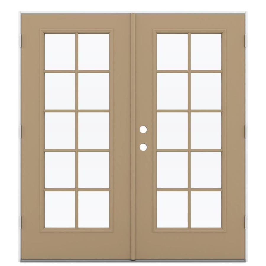 ReliaBilt 71.5-in 10-Lite Glass Warm Wheat Steel French Outswing Patio Door
