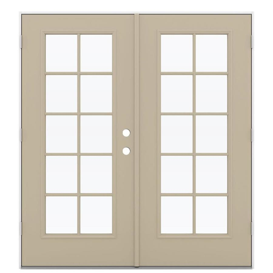 ReliaBilt 71.5-in 10-Lite Glass Sandy Shore Steel French Outswing Patio Door