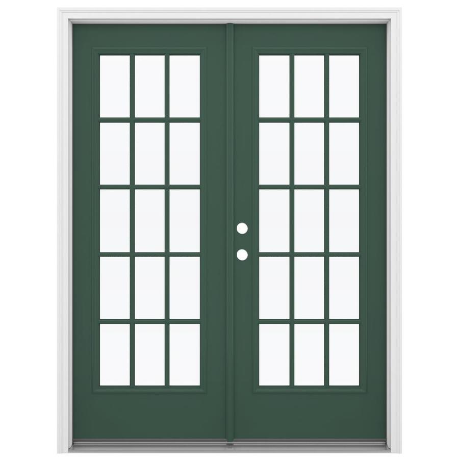 ReliaBilt 59.5-in 15-Lite Glass Evergreen Steel French Inswing Patio Door