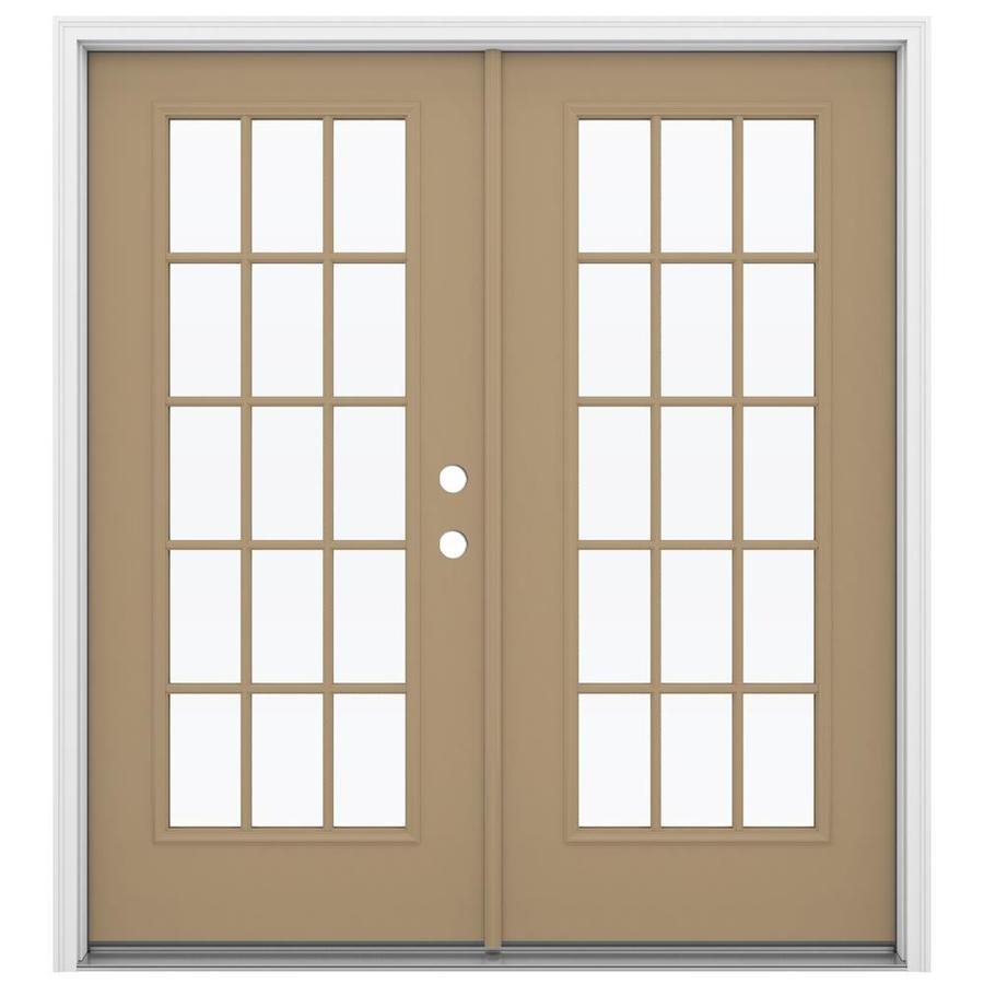 ReliaBilt 71.5-in 15-Lite Glass Warm Wheat Steel French Inswing Patio Door