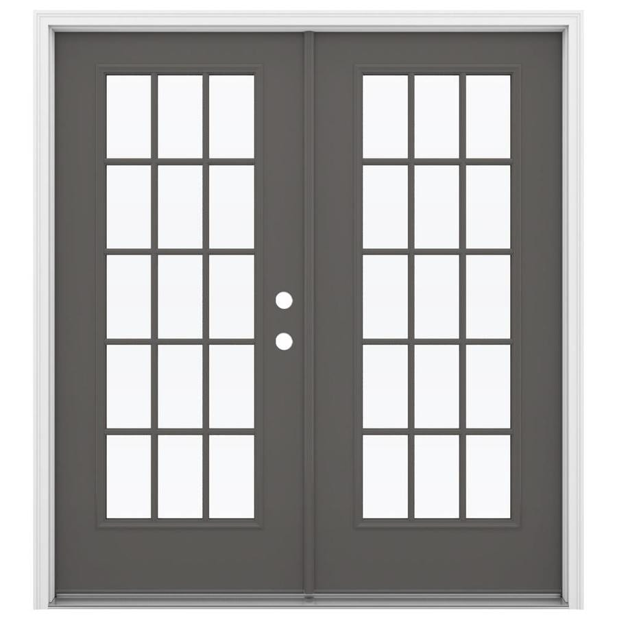 ReliaBilt 71.5-in 15-Lite Glass Timber Gray Steel French Inswing Patio Door