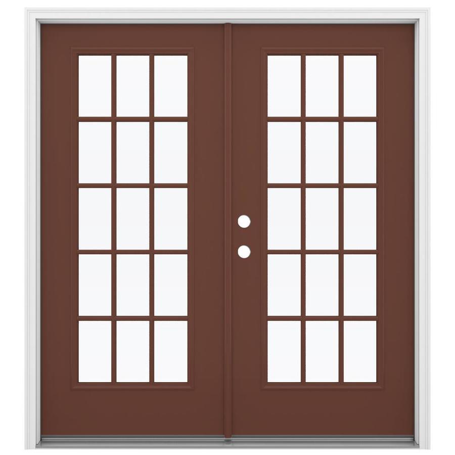 ReliaBilt 71.5-in 15-Lite Glass Foxtail Steel French Inswing Patio Door