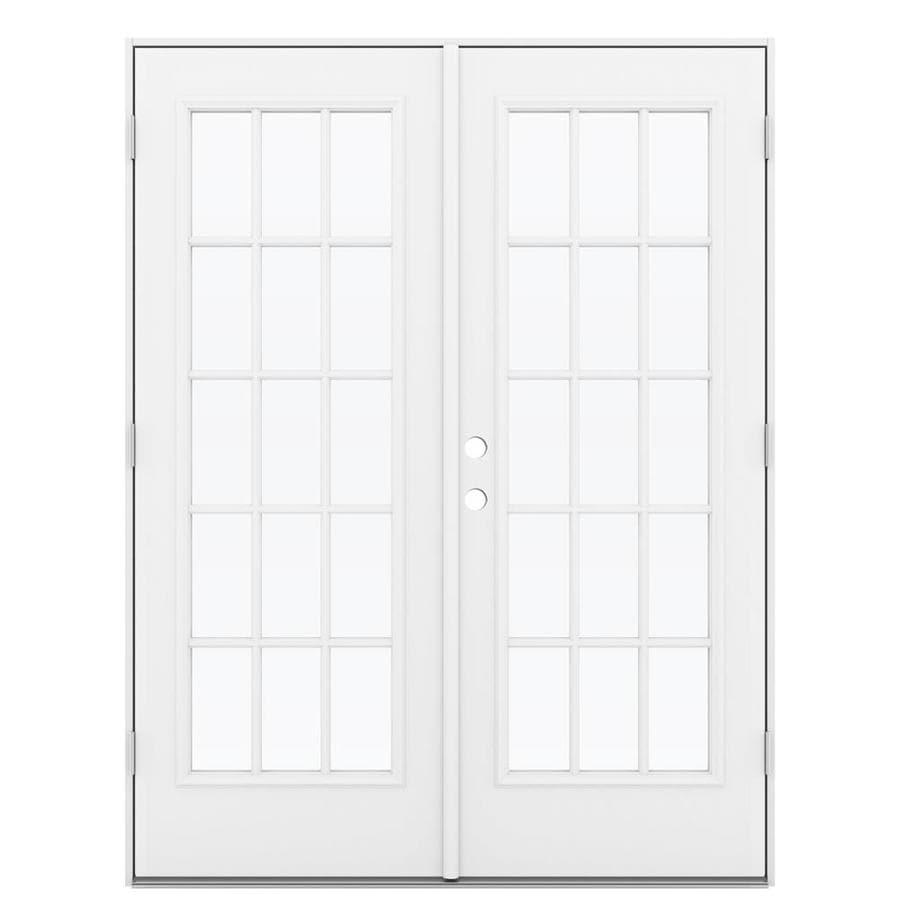 ReliaBilt 59.5-in 15-Lite Glass Primed Steel French Outswing Patio Door