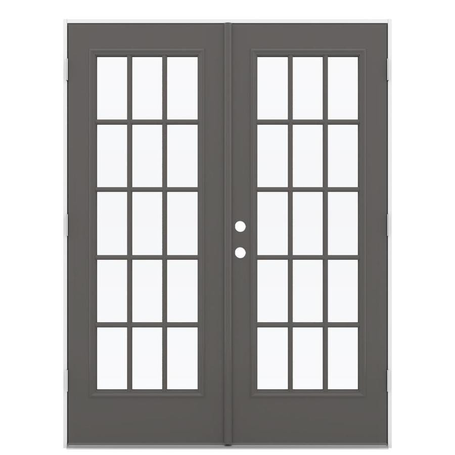 ReliaBilt 59.5-in 15-Lite Glass Timber Gray Steel French Outswing Patio Door