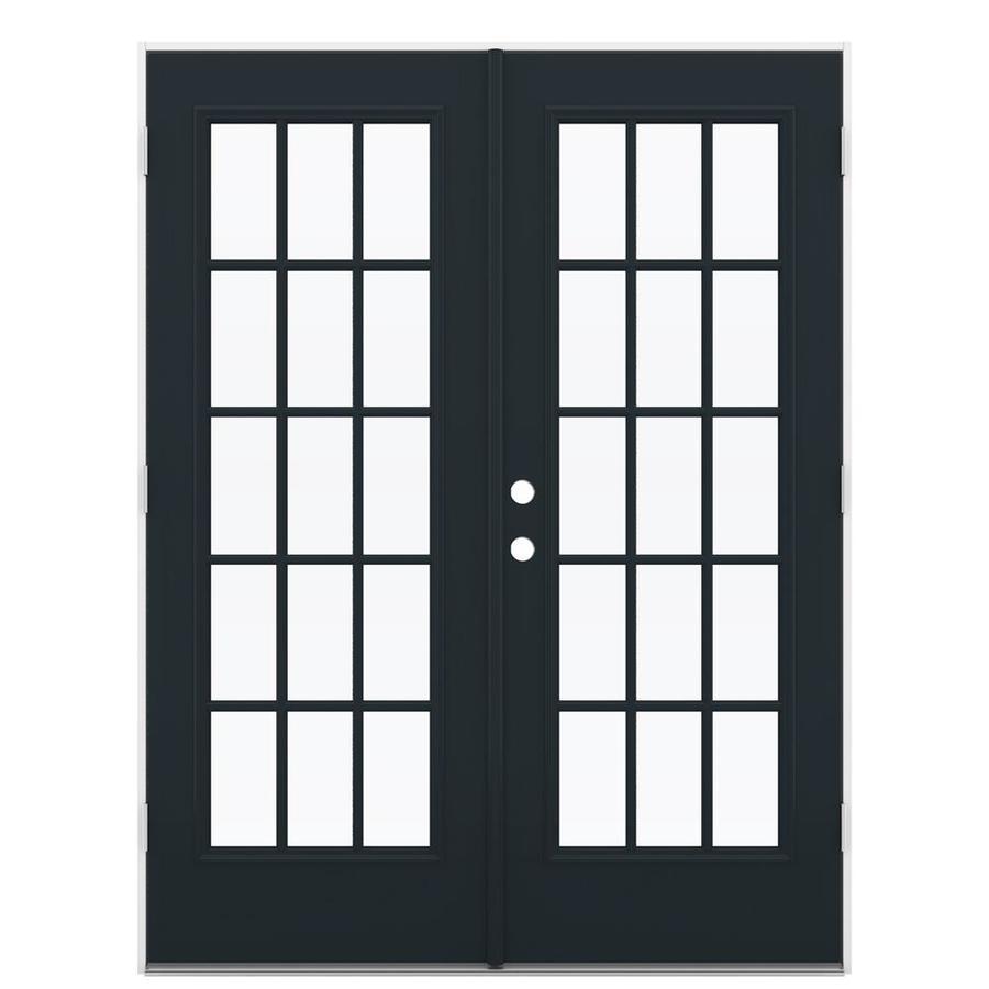 ReliaBilt 59.5-in 15-Lite Glass Eclipse Steel French Outswing Patio Door