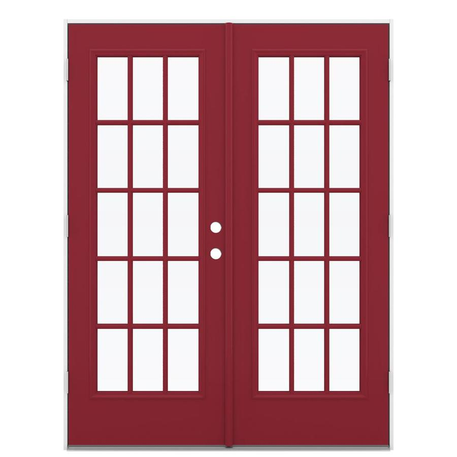 ReliaBilt 59.5-in 15-Lite Glass Roma Red Steel French Outswing Patio Door