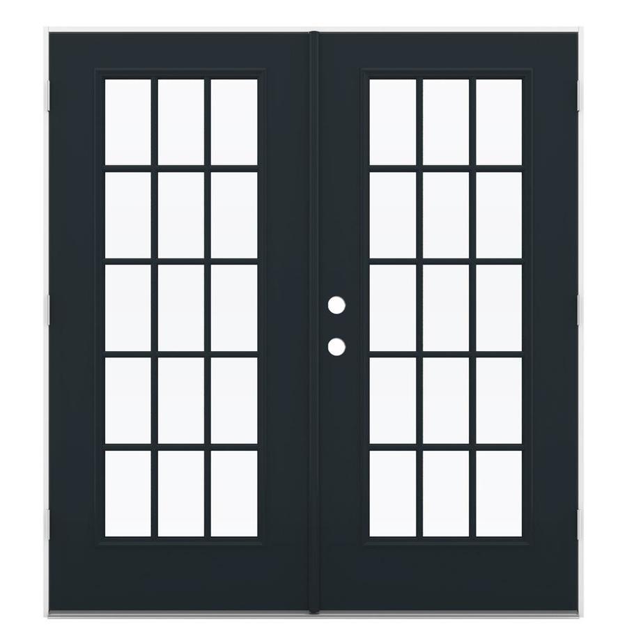 ReliaBilt 71.5-in 15-Lite Glass Eclipse Steel French Outswing Patio Door