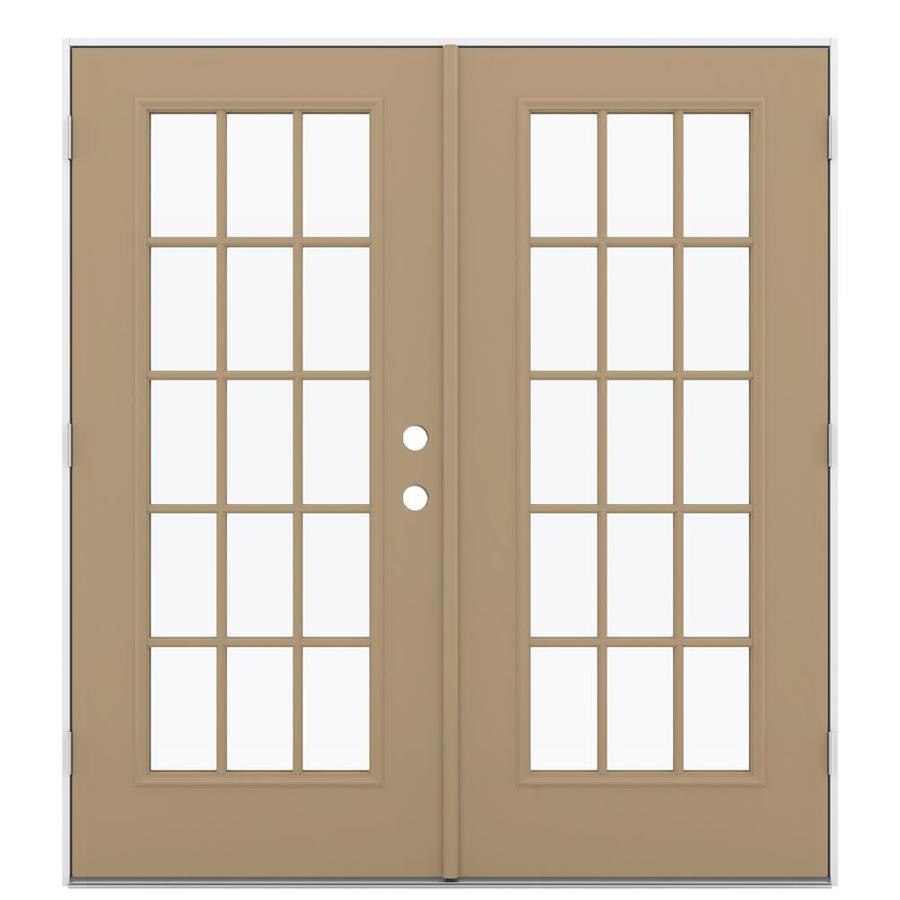 ReliaBilt 71.5-in 15-Lite Glass Warm Wheat Steel French Outswing Patio Door