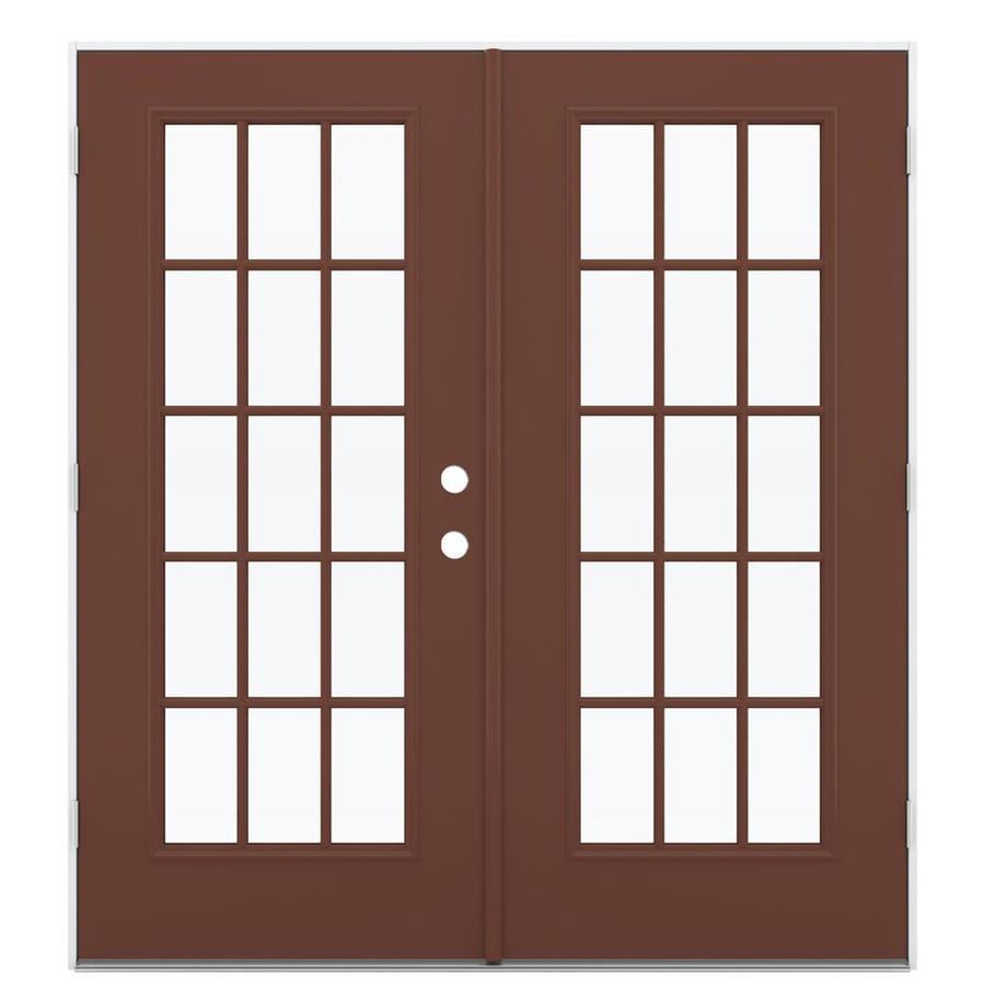 ReliaBilt 71.5-in 15-Lite Glass Foxtail Steel French Outswing Patio Door