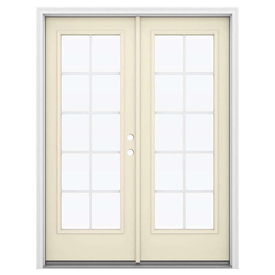 ReliaBilt 59.5-in Grilles Between the Glass Bisque Steel French Inswing Patio Door