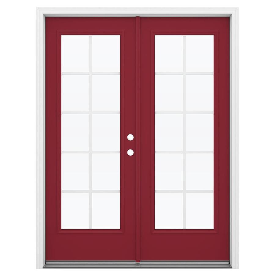 ReliaBilt 59.5-in Grilles Between the Glass Roma Red Steel French Inswing Patio Door