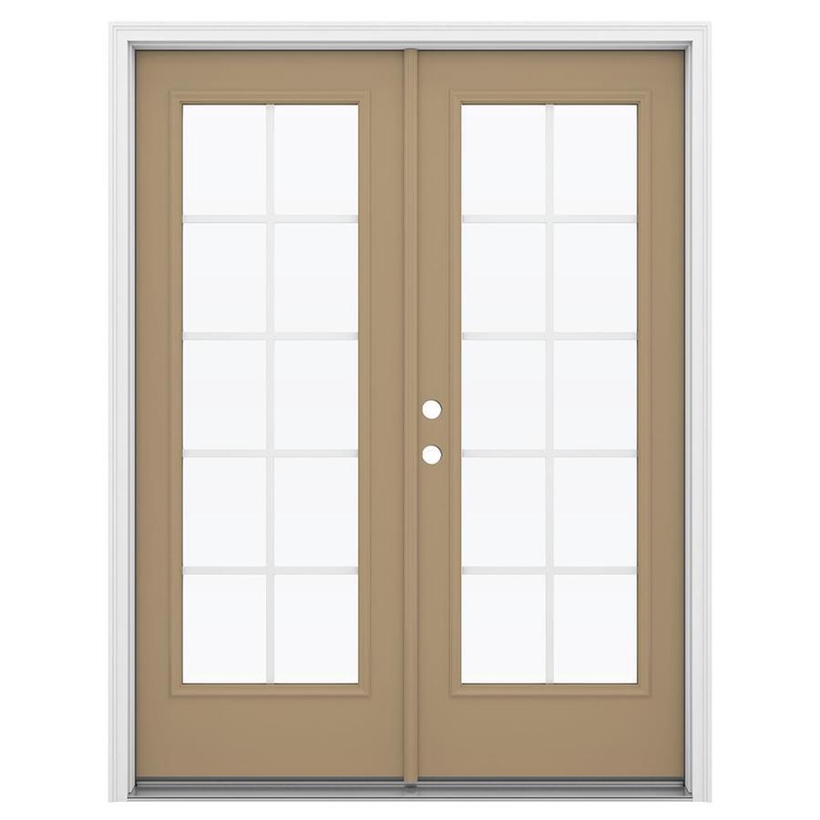 ReliaBilt 59.5-in Grilles Between the Glass Warm Wheat Steel French Inswing Patio Door