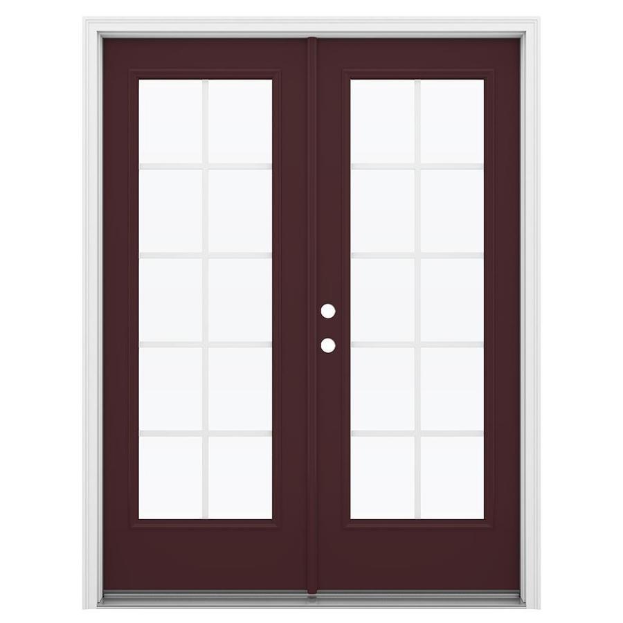 ReliaBilt 59.5-in Grilles Between the Glass Currant Steel French Inswing Patio Door