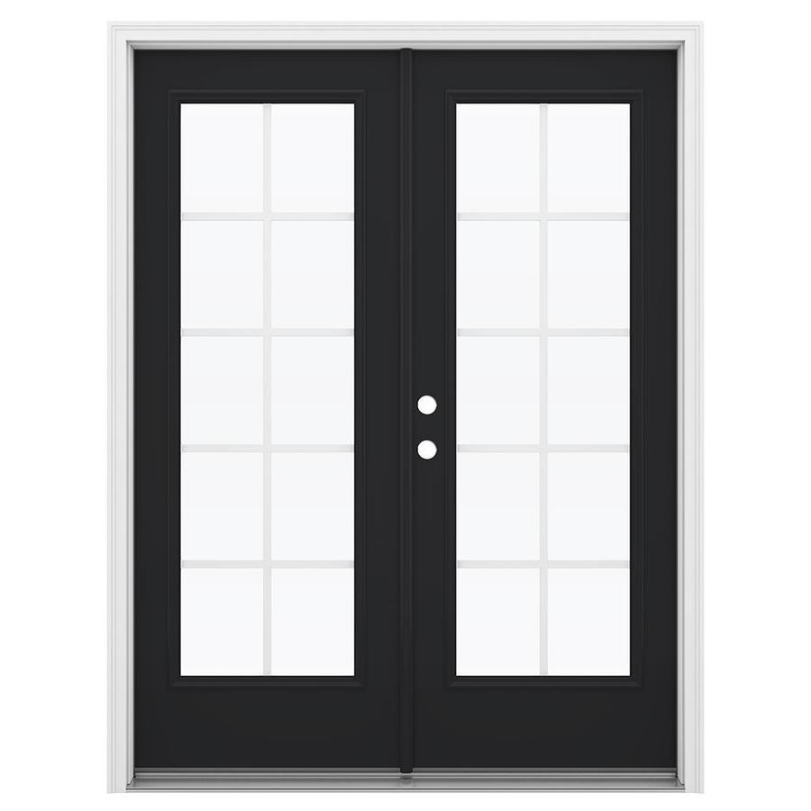 ReliaBilt 59.5-in Grilles Between the Glass Peppercorn Steel French Inswing Patio Door