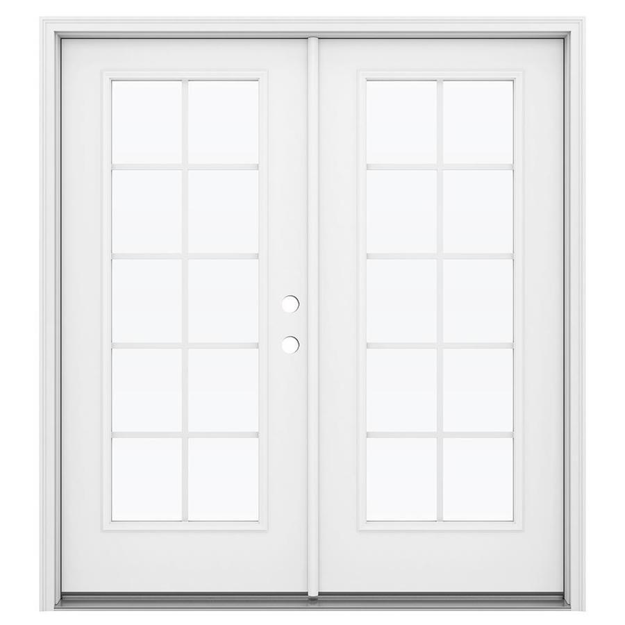ReliaBilt 71.5-in Grilles Between the Glass Primed Steel French Inswing Patio Door