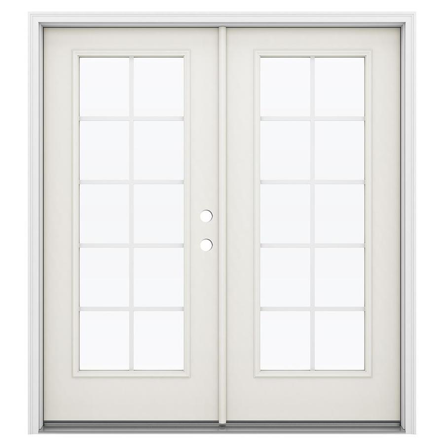 ReliaBilt 71.5-in Grilles Between the Glass Sandy Shore Steel French Inswing Patio Door