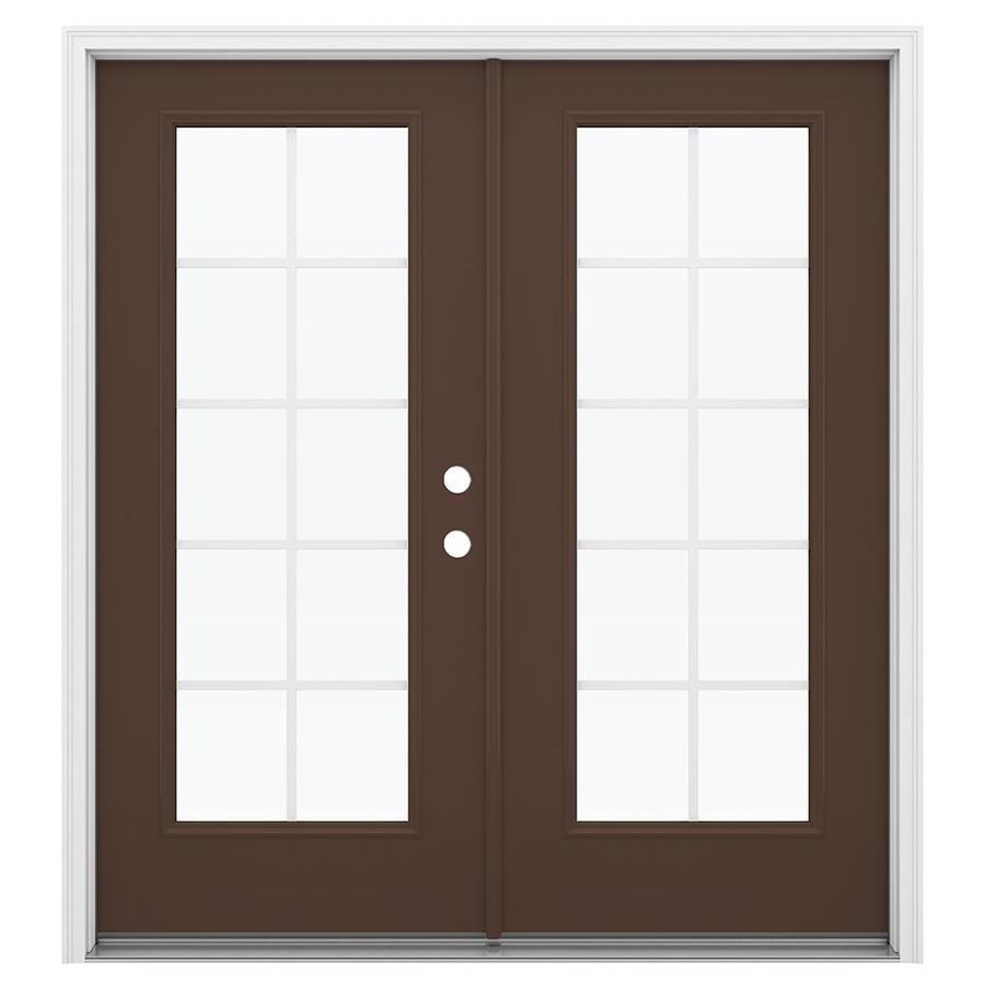ReliaBilt 71.5-in Grilles Between the Glass Chococate Steel French Inswing Patio Door