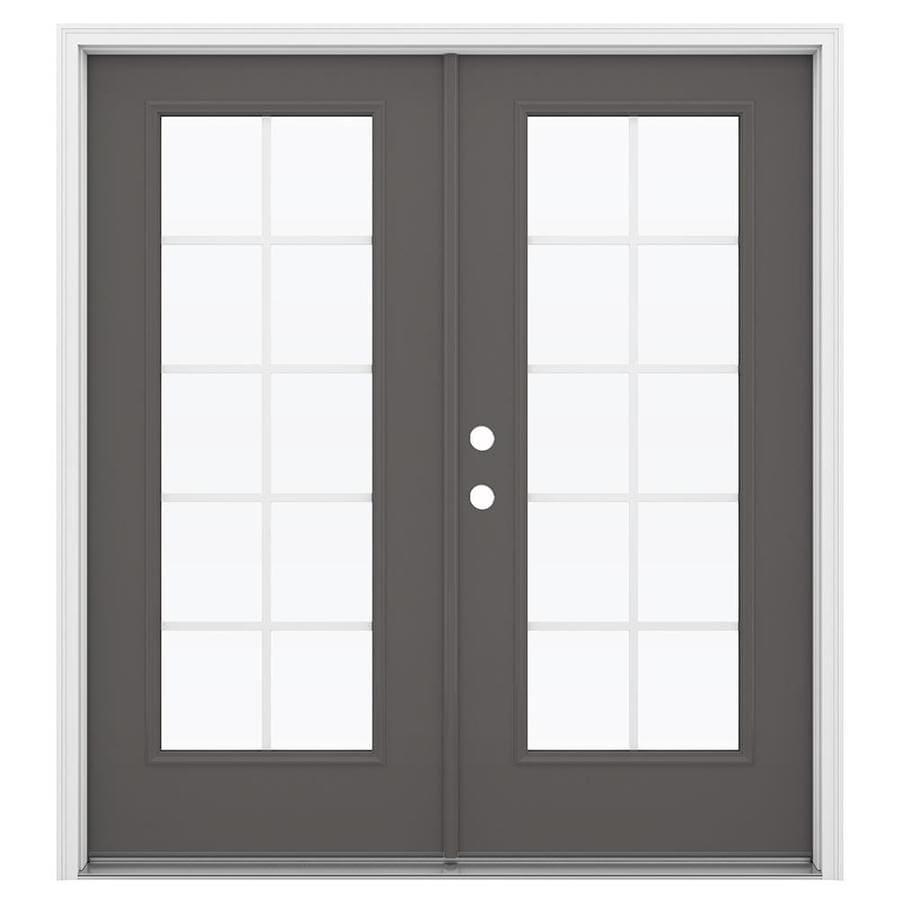ReliaBilt 71.5-in Grilles Between the Glass Timber Gray Steel French Inswing Patio Door