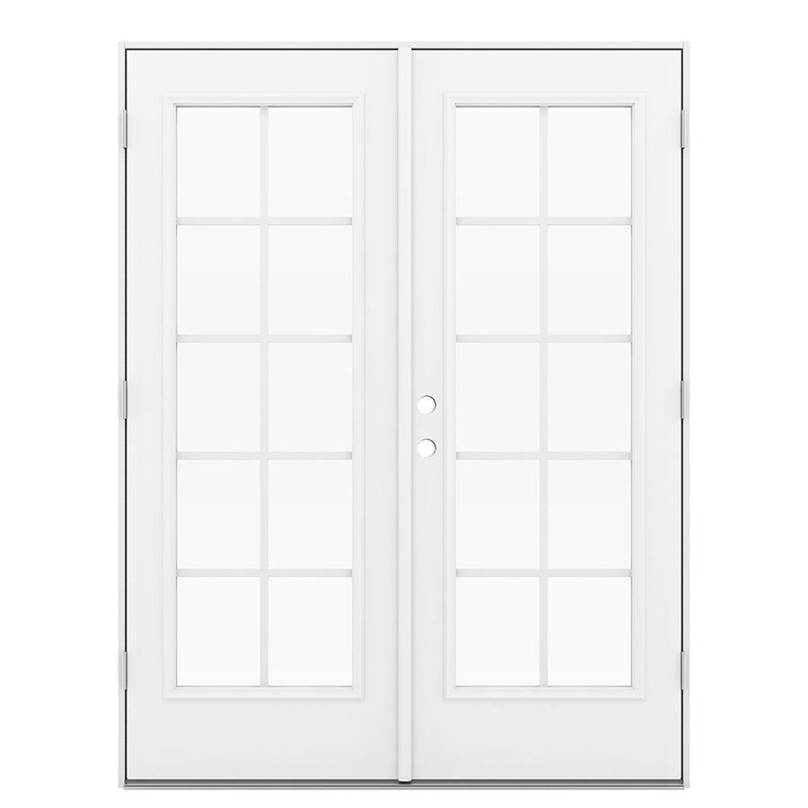 ReliaBilt 59.5-in Grilles Between the Glass Primed Steel French Outswing Patio Door