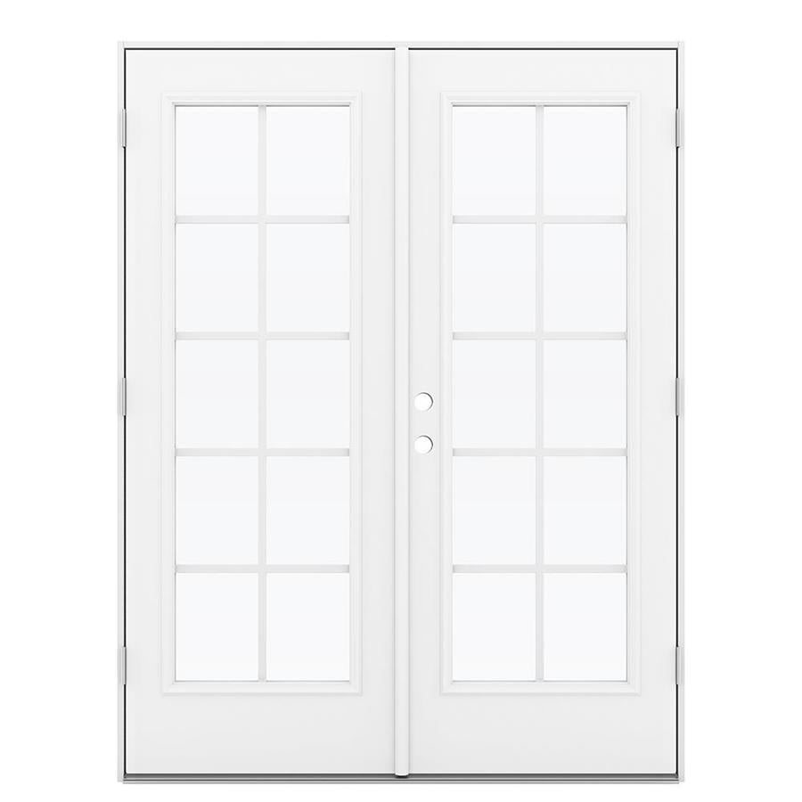 ReliaBilt 59.5-in Grilles Between the Glass Arctic White Steel French Outswing Patio Door