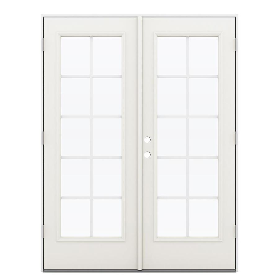 ReliaBilt 59.5-in Grilles Between the Glass Sandy Shore Steel French Outswing Patio Door