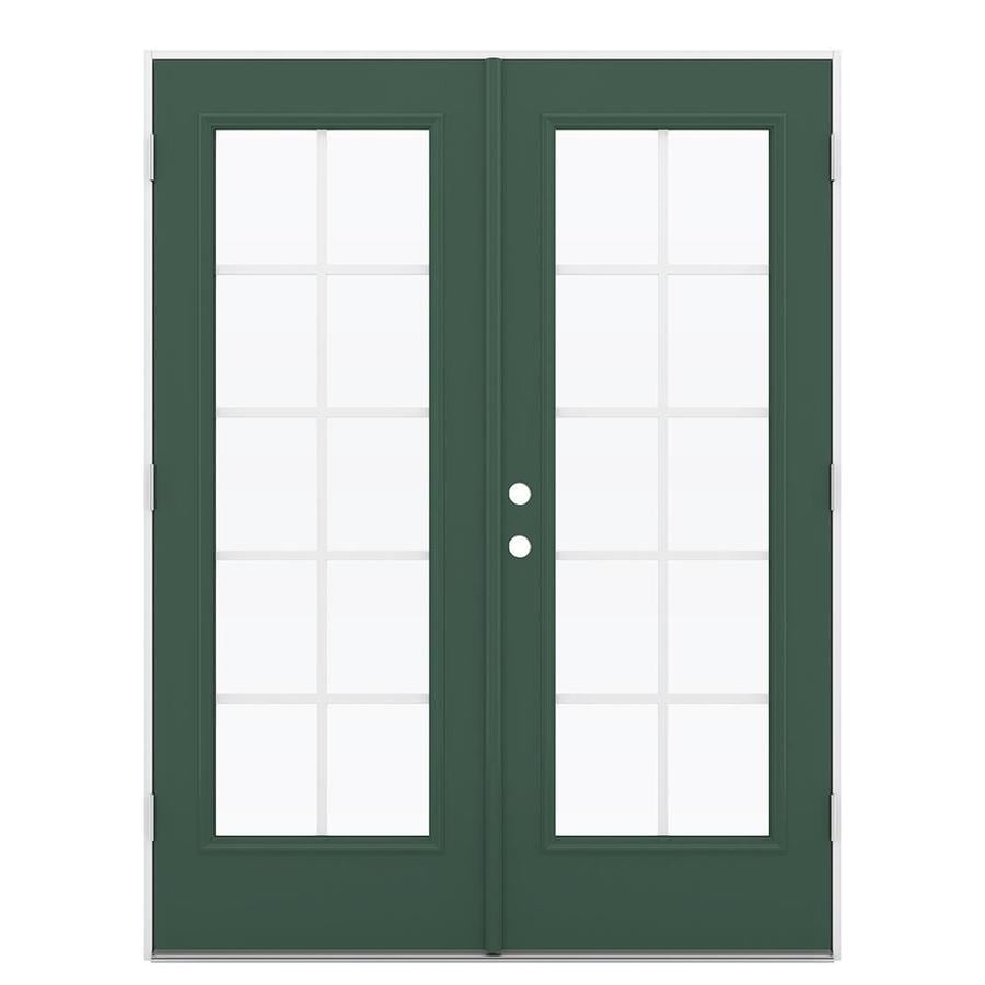 ReliaBilt 59.5-in Grilles Between the Glass Evergreen Steel French Outswing Patio Door