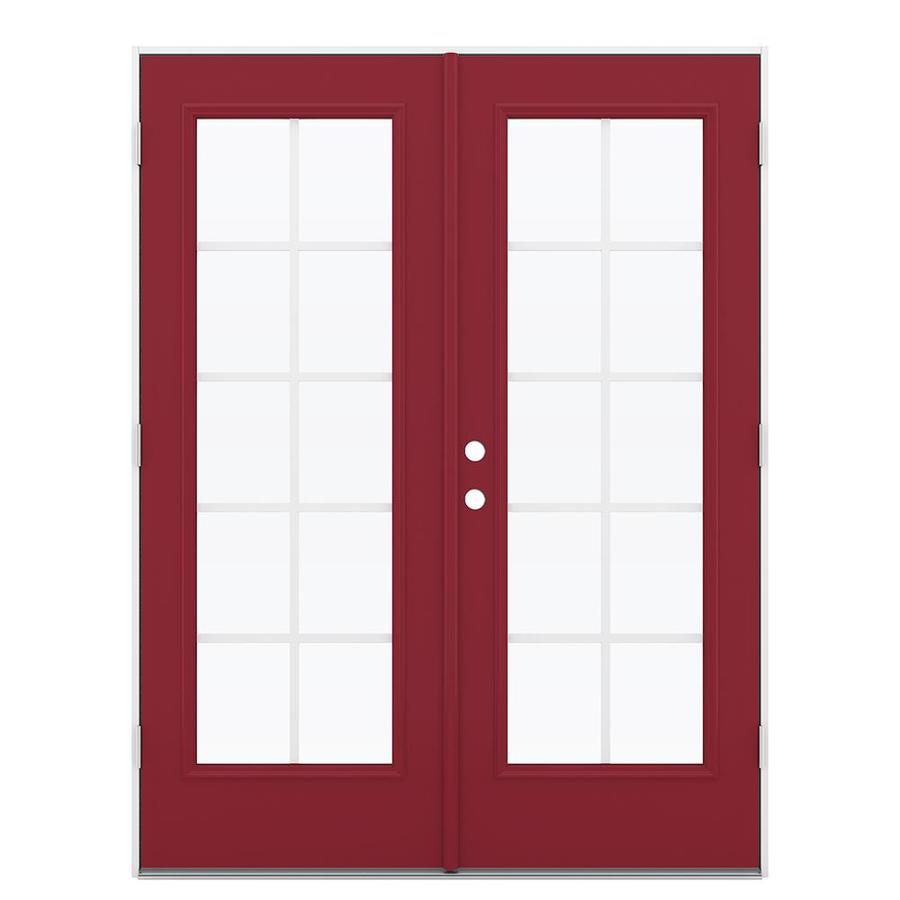 ReliaBilt 59.5-in Grilles Between the Glass Roma Red Steel French Outswing Patio Door