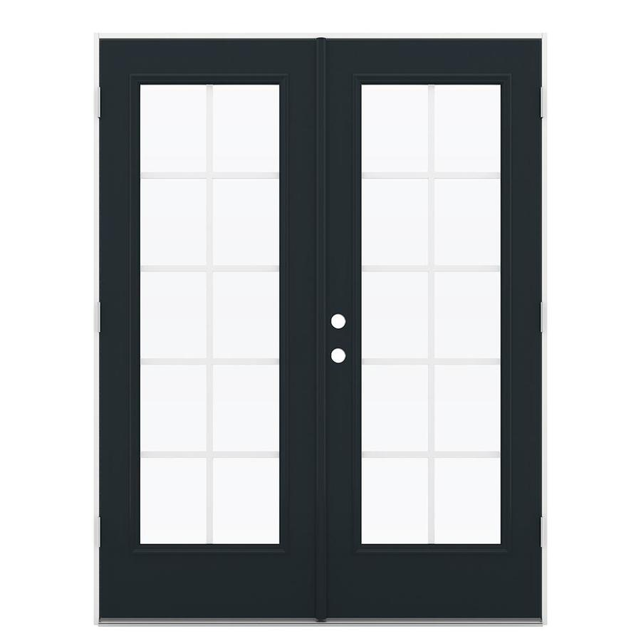 ReliaBilt 59.5-in Grilles Between the Glass Eclipse Steel French Outswing Patio Door